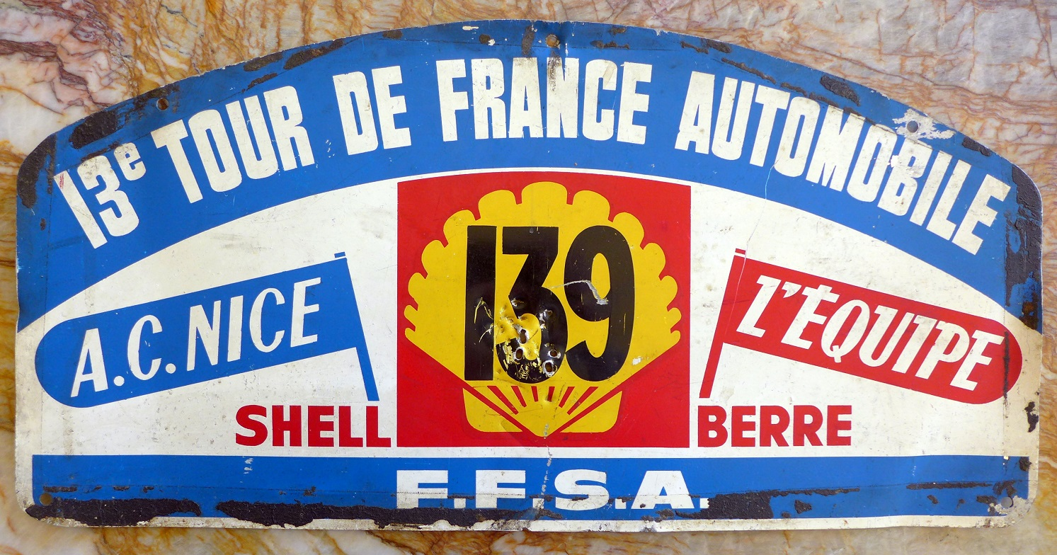 1964 Tour de France car plate, rallye route book original vintage, Lotus Elan