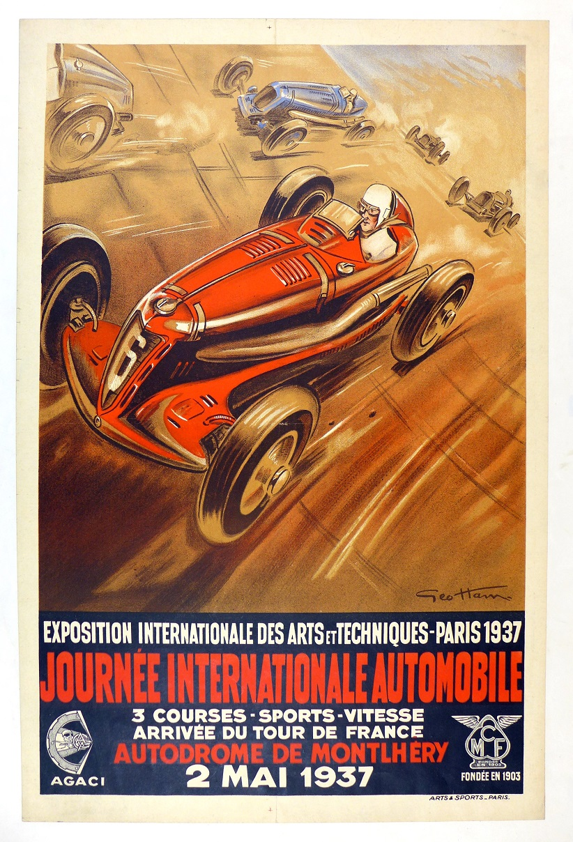 Jouree International 1937 original vintage auto advertising poster, Geo Ham