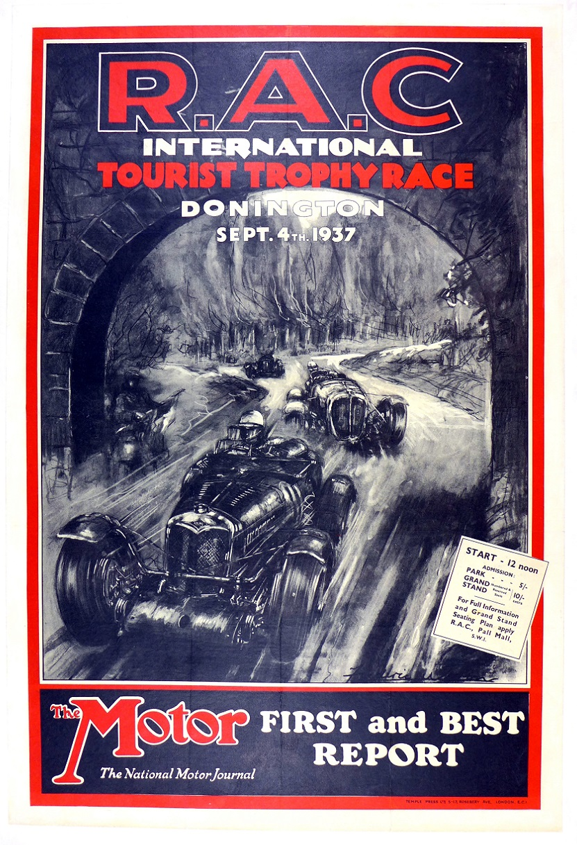 1937 Tourist Trophy original vintage event poster from Donnington circuit