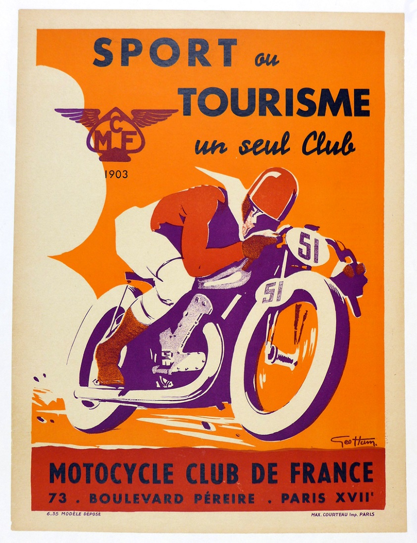 Motorcycle Club de France original vintage motorcycle poster Geo Ham