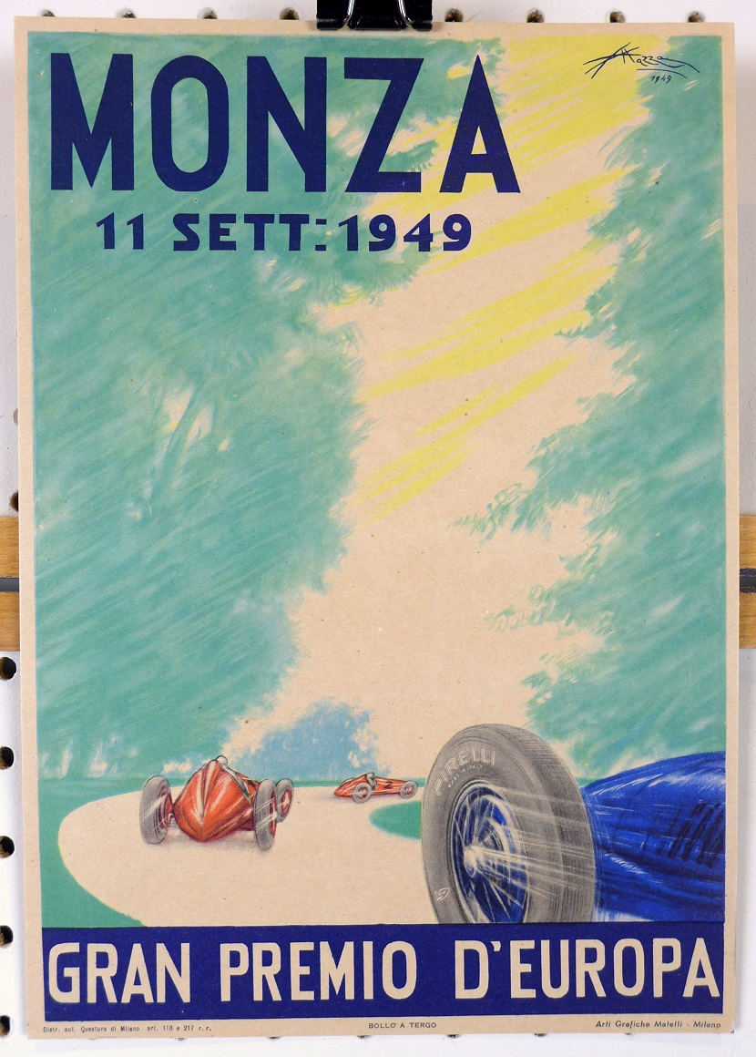 Monza 1949 original vintage auto race event advertising counter card