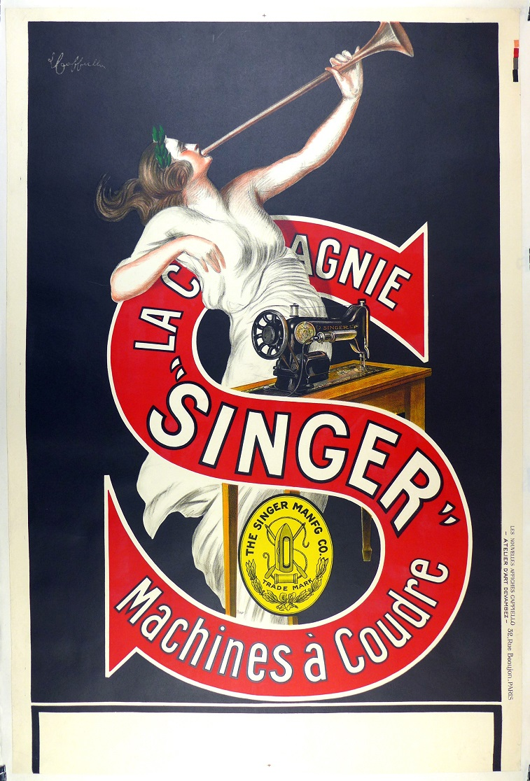 Singer Sewing Machines original vintage advertising poster Cappiello