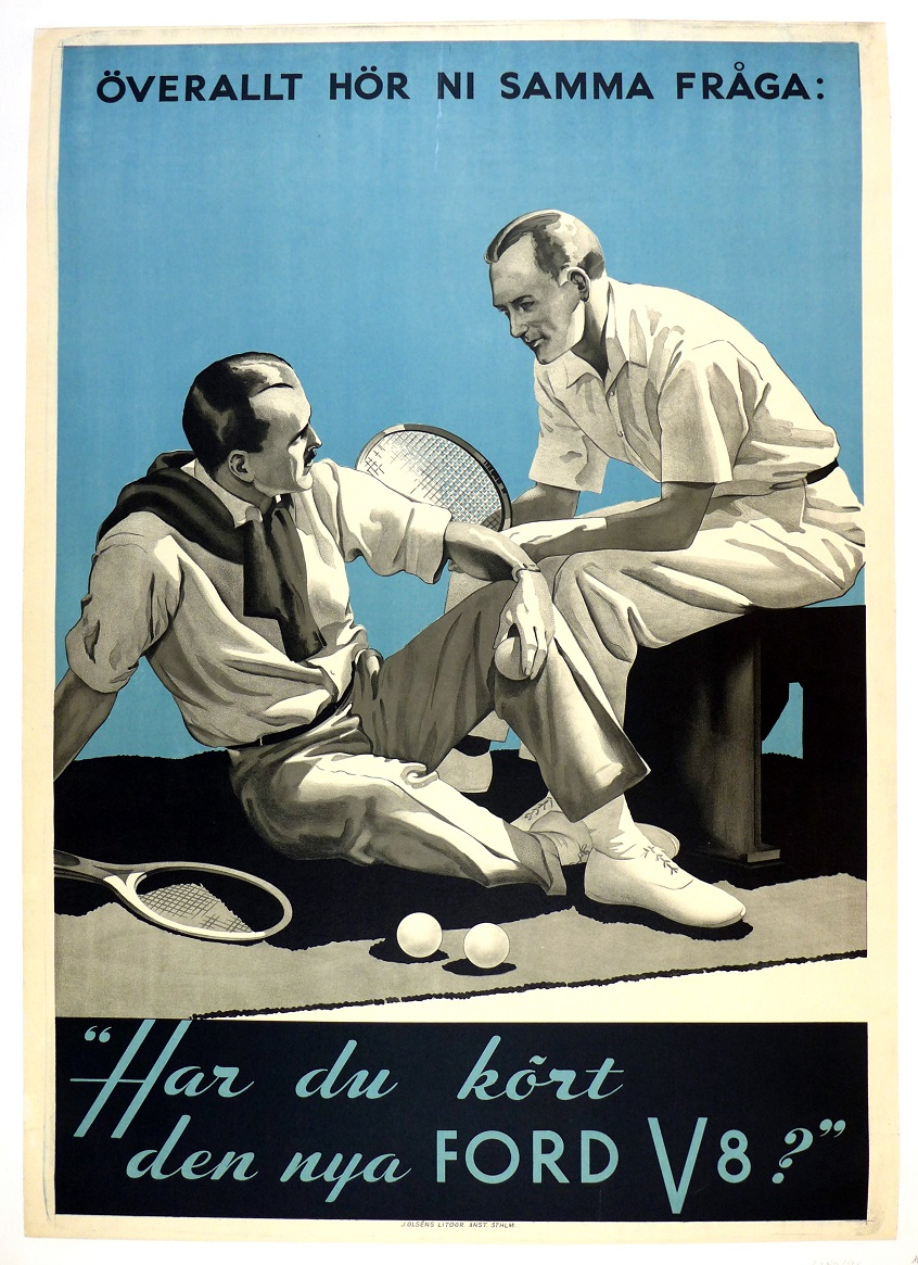 Ford V8 original vintage tennis auto advertising poster