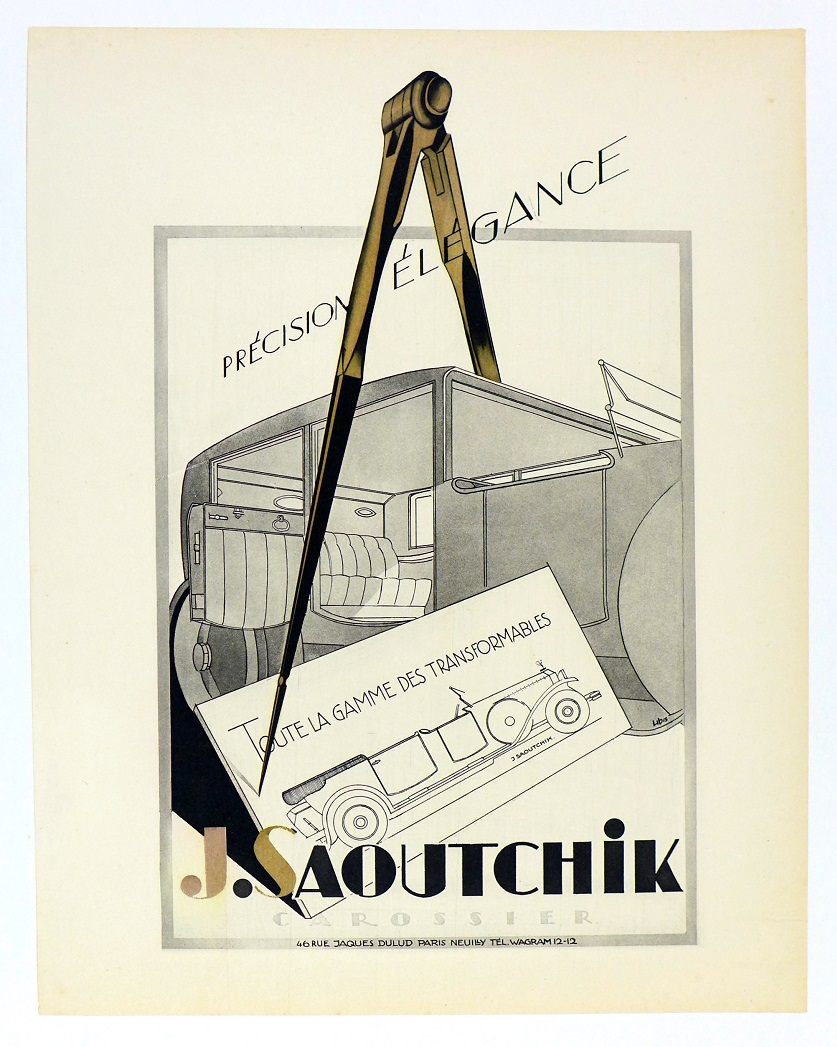 J. Satoutchik original vintage auto advertising poster