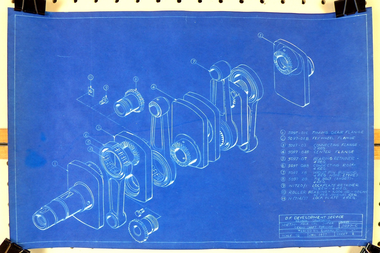 Hirth crankshaft blueprint drawings 1957