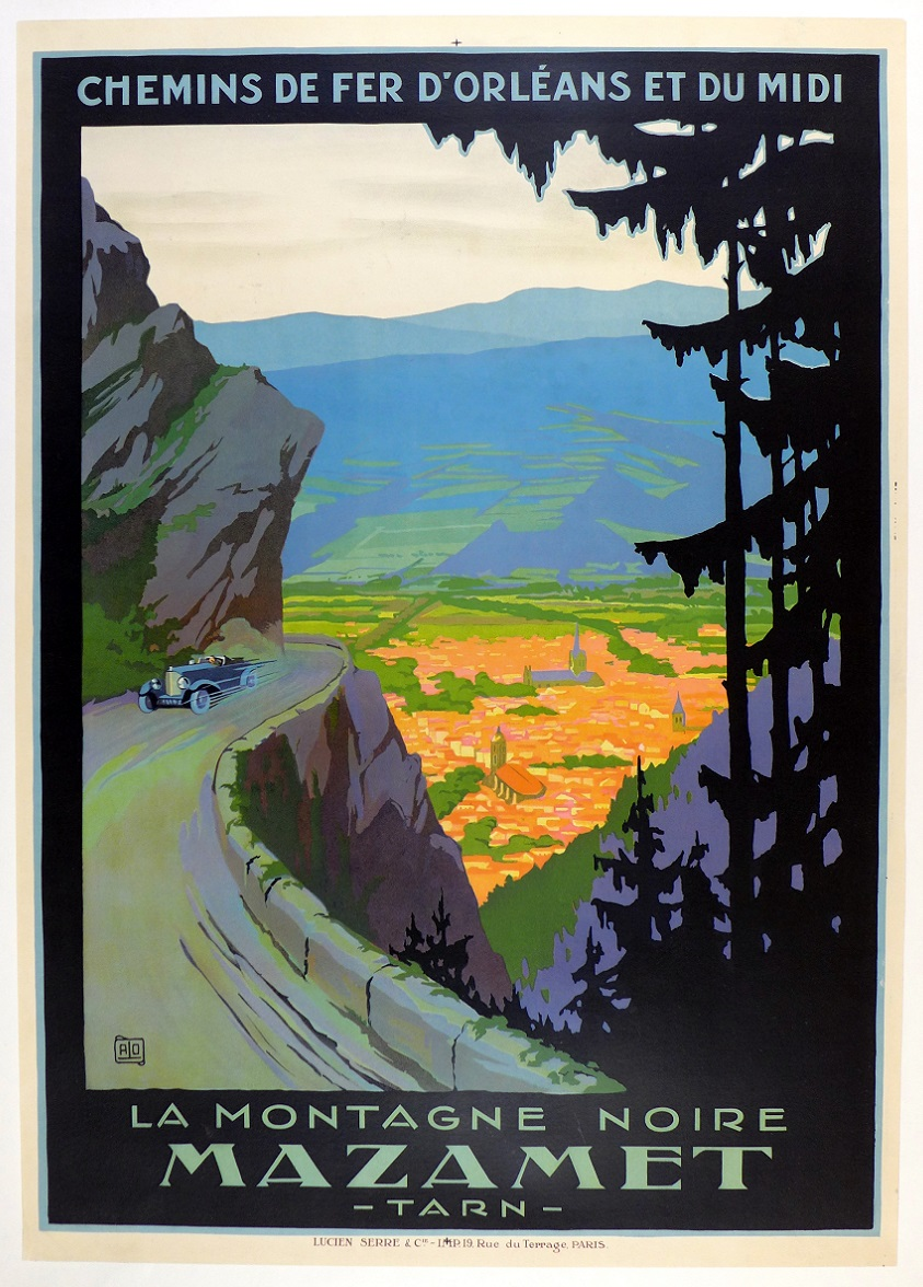 wanted European travel poster with car