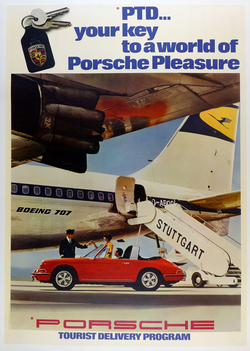 Porsche Tourist Delivery original vintage showroom advertising poster