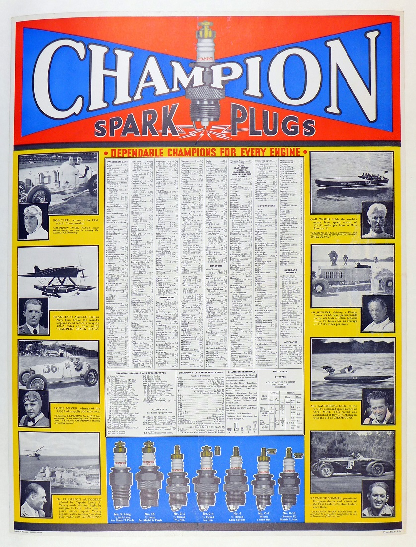 Champion Spark Plug 1933 original vintage advertising poster