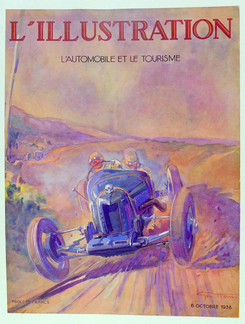 Bugatti illustration by Geo Ham 1928 original vintage