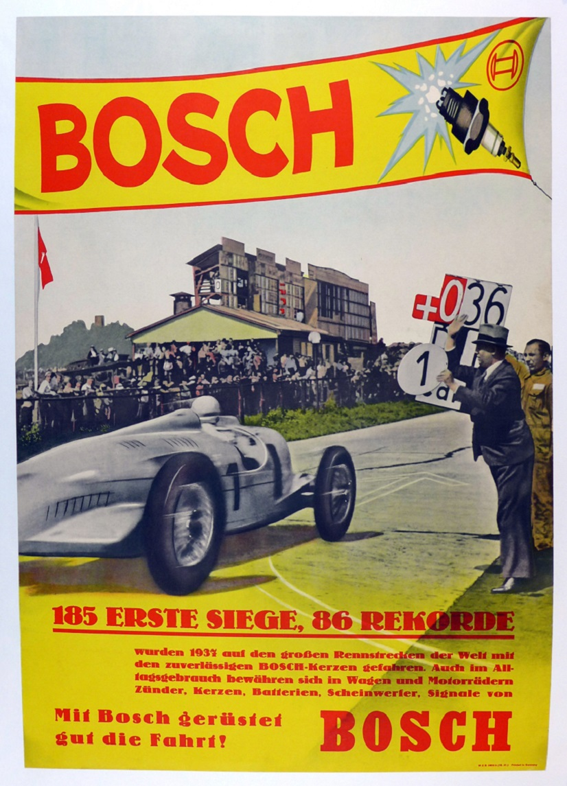Bosch 1937 original vintage auto race commemorative poster