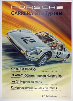 Porsche type 904 original vintage Factory commemorative poster