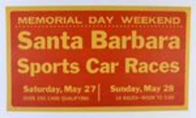 1961 Santa Barbara sports car races original vintage auto race poster