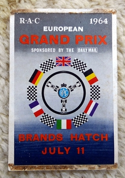 European Grand Prix 1964 Brands Hatch original vintage window sticker