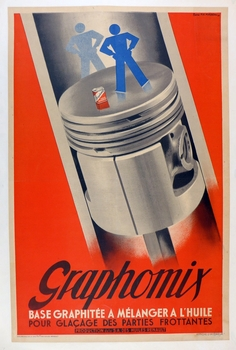 Graphomix oil original vintage advertising poster  Fix Masseau