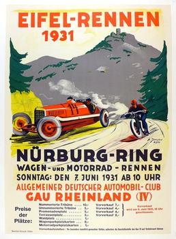 1931 Eifel Rennen at Nurburgring original vintage auto race event poster