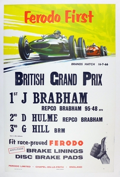 British Grand Prix 1966 original vintage commemorative race event poster Jack Brabham, Denis Hulme, Graham Hill