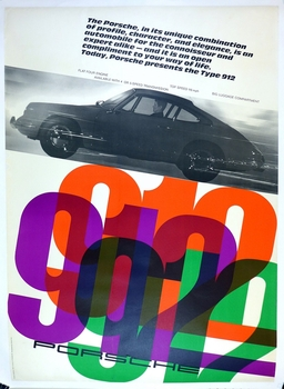 912 original vintage Porsche showroom advertising poster