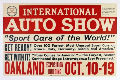 International Auto Show Oakland CA original vintage auto advertising poster