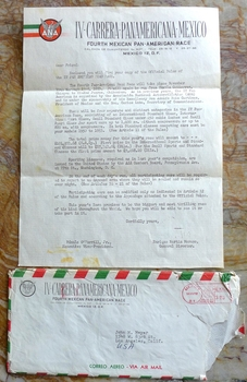 1953 Carrera Panamericana original vintage information letter and envelope