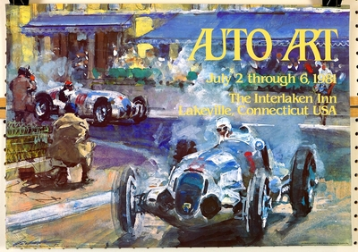 Auto Art 1981 vintage exhibition poster; Mercedes at 1937 Grnad Prix of Monaco by Walter Gotschke
