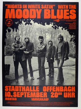 Moody Blues Nights in White Satin European concert advertising poster original vintage