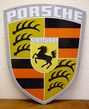 Porsche Factory enamel Crest sign - Wanted