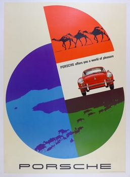 Porsche offers you a world of pleasure original vintage Factory showroom poster