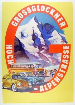 Grossglockner Hoch-Alpenstrasse original vintage auto advertising poster