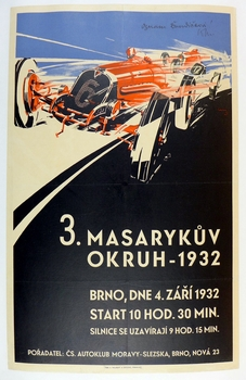1932 Masaryk original vintage auto race event poster Brno