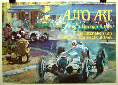 Auto Art 1981 original vintage exhibition poster; art by Walter Gotschke of Mercedes at 1937 Grand Prix of Monaco