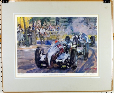 Grand Prix Monaco 1937 original vintage signed numbered print by Walter Gotschke