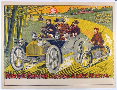 FN Fabrique National original vintage advertising poster automobile and motorcycle
