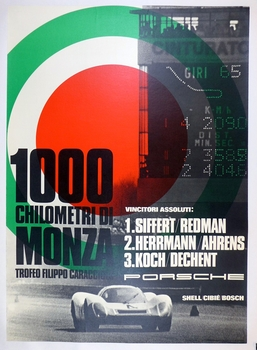 1000 km Monza 1969 original vintage Porsche Factory commemorative race poster 908