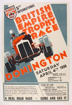 British Empire Trophy 1936 original vintage event poster Donnington
