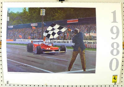 1991 Ferrari Factory calendar di Guisti artwork world champions