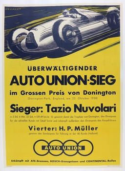 Auto Union Seig 1938 original vintage race commemorative poster