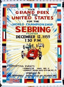 1959 US Grand Prix Sebring repro auto race event poster