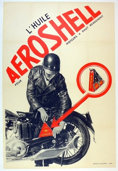 L'Huile Aeroshell, original vintage advertising poster