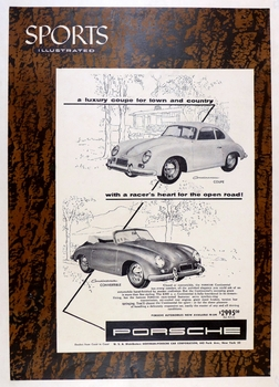 Sports Illustrated blow up of Porsche ad for the Continental Coupe and Cabriolet original vintage 1955