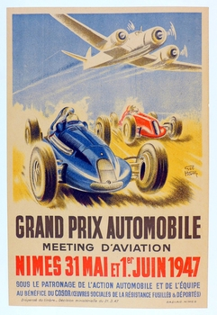 Nimes 1947 Grand Prix Automobile original vintage race event poster by Geo Ham