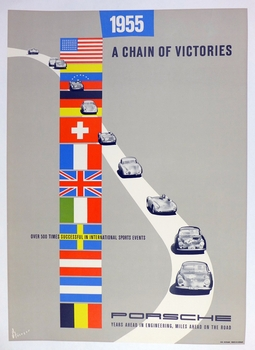 1955 Chain of Victories original vintage Porsche commemorative poster 356 550 Spyder