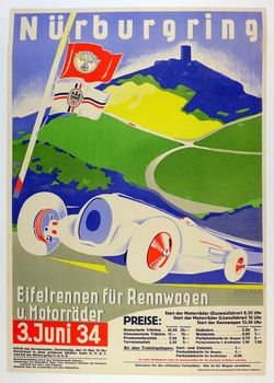 Nurburgring Eifelrennen 1934 original vintage auto race event poster motorcycle