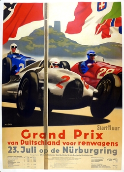 1939 Grand Prix German original vintage auto race event poster