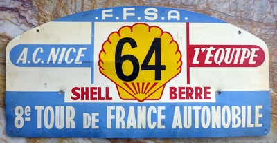 1959 Tour de France original vintage car plate Ferrari