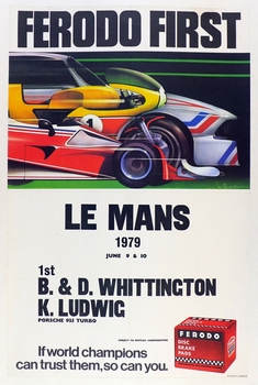 1979 Le Mans original vintage race commemorative poster Porsche 935 Turbo Whittington Brothers