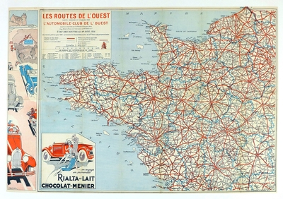 Routes of Western France original vintage auto map Geo Ham