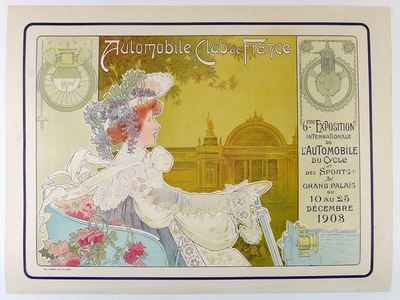 Automobile Club de France 1903 original vintage auto show poster Livemont
