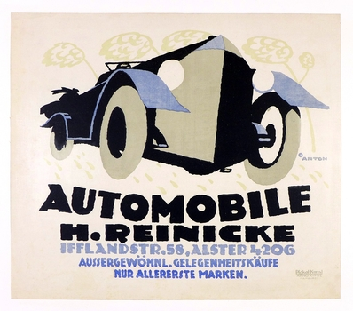 Automobile H. Reinicke original vintage advertising poster