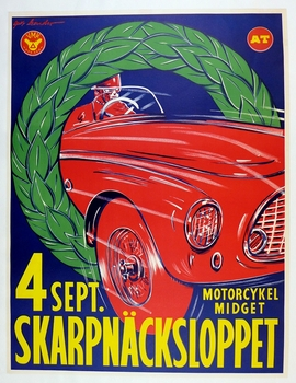 Skarpnacksloppet, Swedish original vintage race event poster with Ferrari