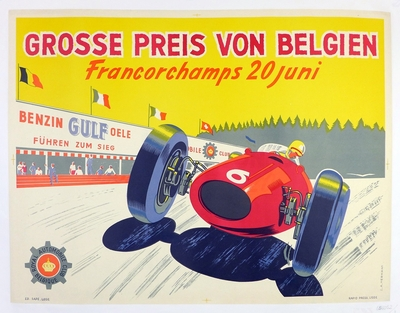 Belgian Grand Prix 1954 original vintage event poster by Hermans